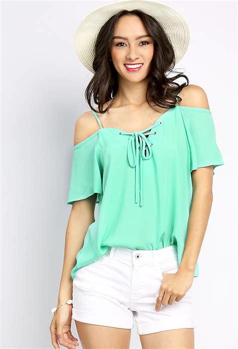 Open Shoulder open shoulder lace up top shop blouse shirts at papaya clothing