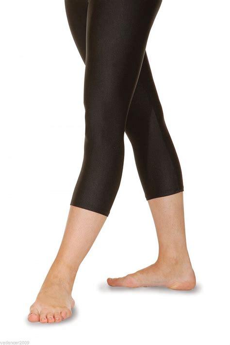 Legging Sport 3 4 roch valley crop 3 4 lycra shiny black gymnastics freestyle