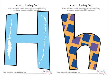 alphabet lacing cards templates letter h lacing card