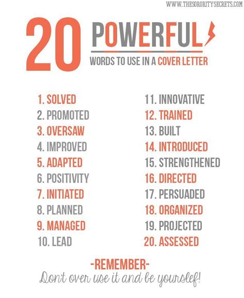 words to use in cover letter 20 powerful words to use in a cover letter pictures