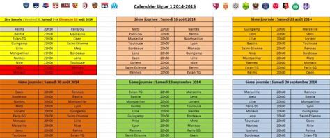 Calendrier Ligue 1 Maxifoot Horaire Match Ligue 1 2014