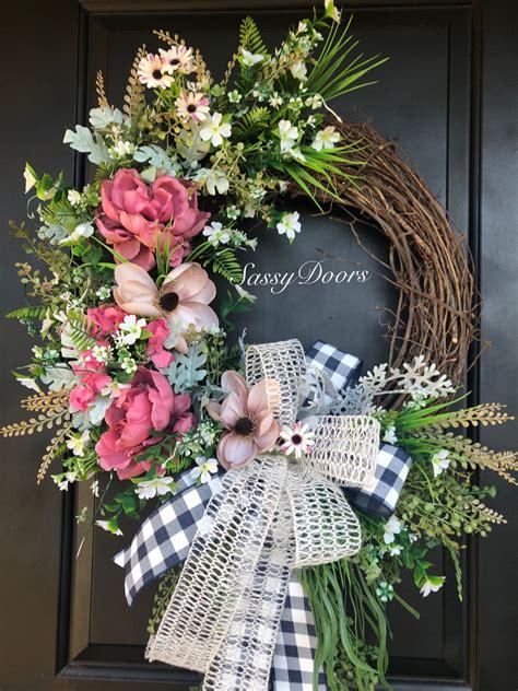 summer wreaths door wreath peonies wreath wreath