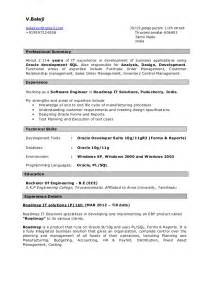 Pl Sql Programmer Sle Resume by Resume For Pl Sql Developer
