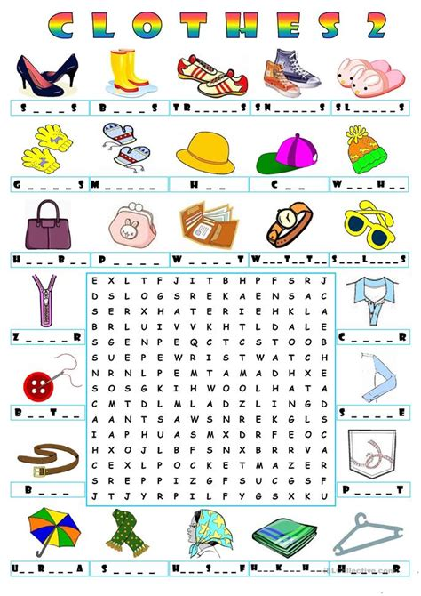 Free Clothing Search Clothes Wordsearch 2 Worksheet Free Esl Printable Worksheets Made By Teachers