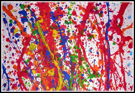 Harga Seni Abstrak Abstraction White by Plateau Studio Jackson Pollock Splatter Paint