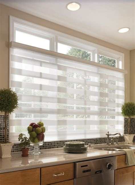sheer horizontal kitchen shades for wide windows blinds