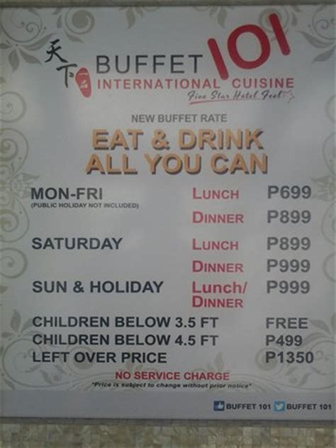price list picture of buffet 101, pasay tripadvisor