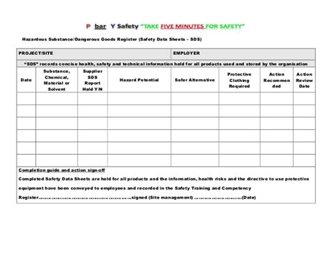 hazardous substance register template site specific safety plan master