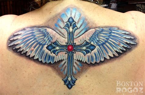 colored wings tattoo bostonrogoz cross with wings cross wings color