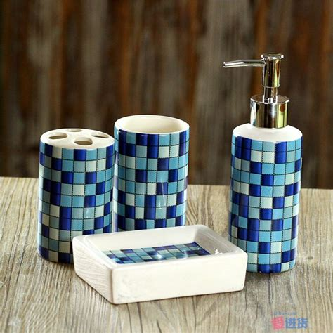 blue bathroom accessories sets 4 pcs set fashion mosaics ceramic bathroom accessories set