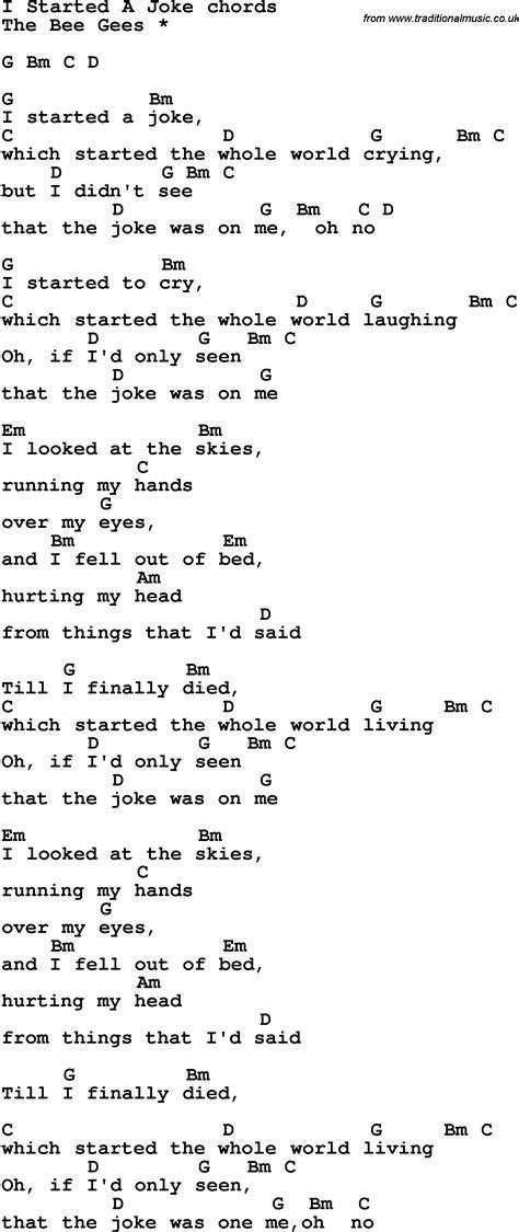 I Started A Joke Guitar Chords