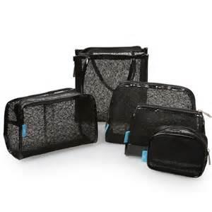 Black Set 5 Pc Black Mesh Lace Design Cosmetic Bag Set