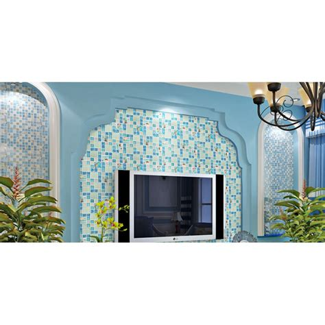 blue glass mosaic tile backsplash crackle glass