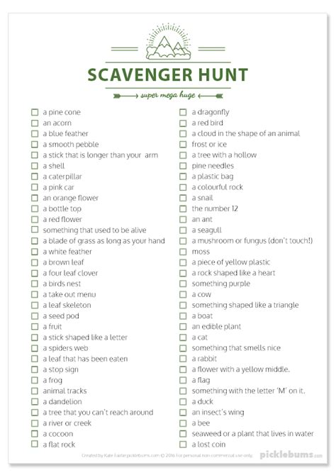 printable scavenger hunt template play outside all year don t make excuses picklebums