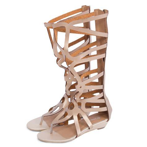 knee high gladiator heel sandals womens flip flops zip wedge heel knee high boots