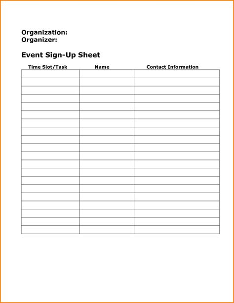 event sign up sheet template authorization letter pdf