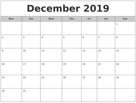 Calendar 2019 December December 2019 Free Monthly Calendar