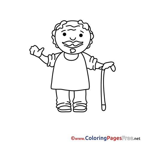 old man grandfather colouring sheet download free