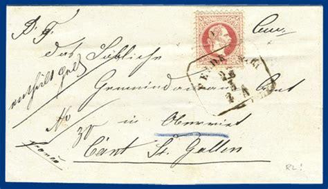 Porto Brief Schweiz Nach Sterreich 214 sterreich 1869 5 kr auf rl grenzbereich brief v