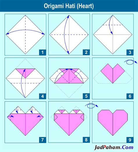 Tutorial Origami Bentuk Love | tutorial origami hati