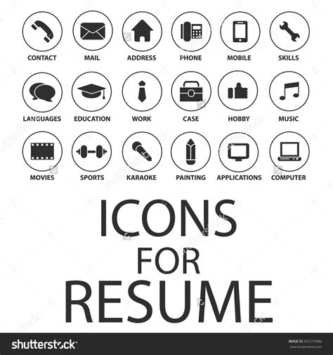 design resume icon stock vector icons set for your resume cv job 357219386