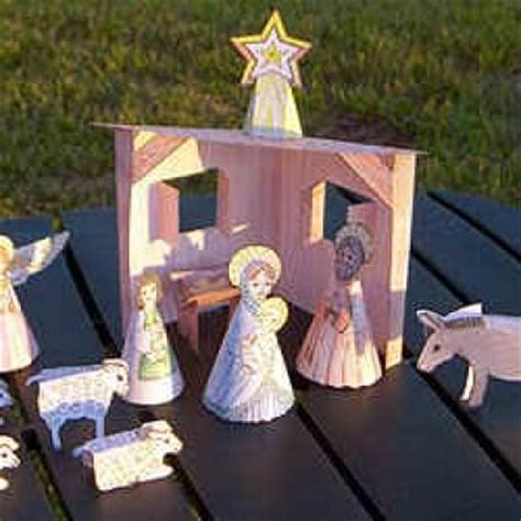 Nativity Paper Craft - free printable nativity crafts tip junkie