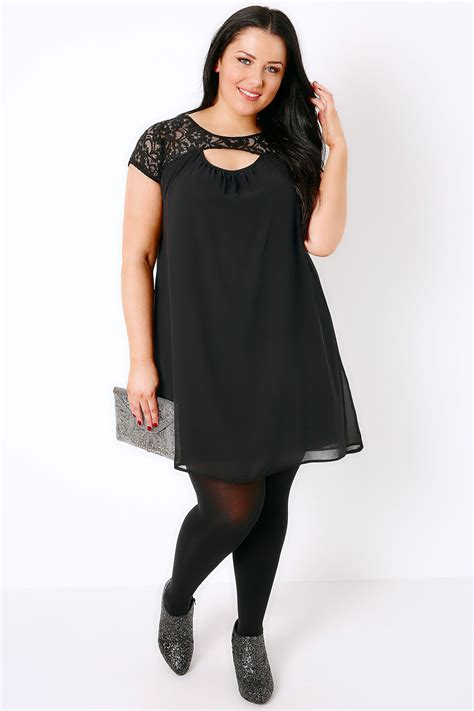 black swing dresses black swing dress with cut out lace yoke plus size 16 to 36