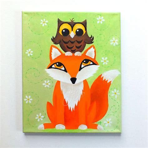 Fox Owl Painting Room 11x14 Acrylic Canvas