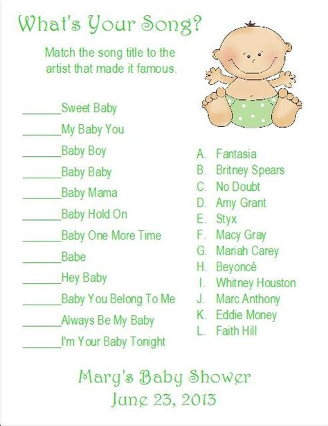 Songs For Baby Showers by 24 Personalized What S Your Song Baby Shower Search