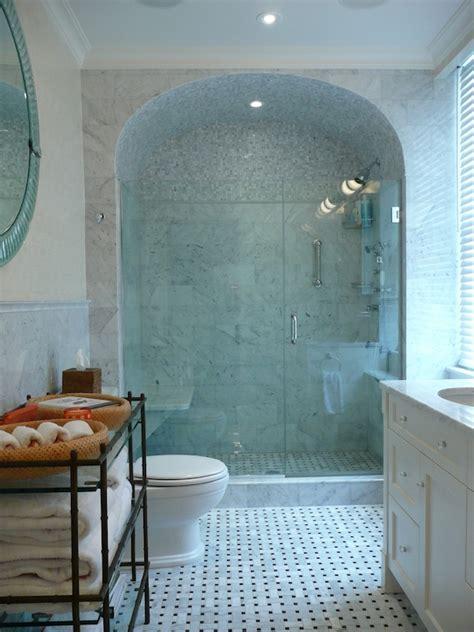 White Vanity Bathroom Ideas Barrel Ceiling Shower Transitional Bathroom The Renovated