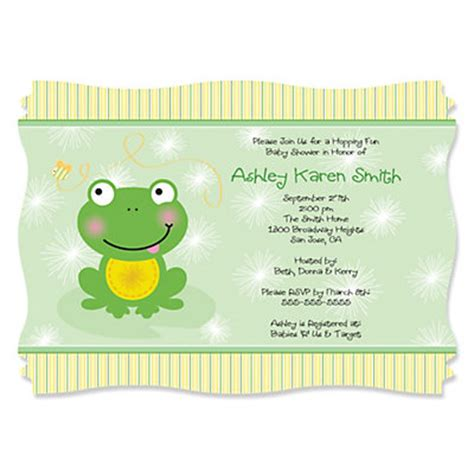 Frog Baby Shower Invitations by Froggy Frog Personalized Baby Shower Invitations