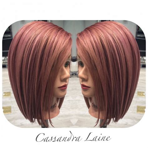 rose gold hair color rose gold highlights with copper brown and red lowlights