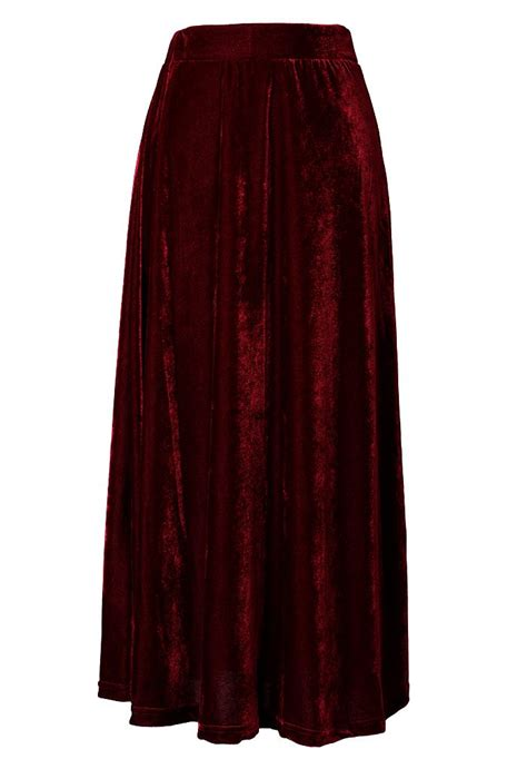 velvet pleated maxi skirt style s