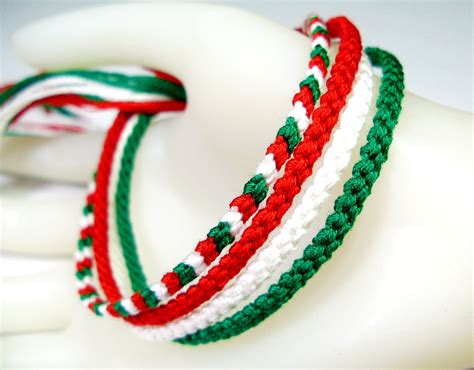 Handmade Friendship Bracelet - four handmade friendship bracelets in green and white