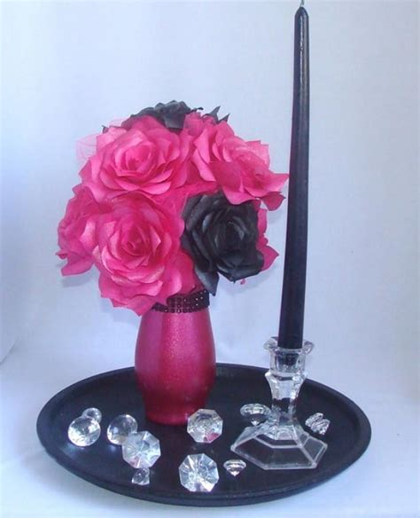 pink and black home decor pink and black wedding centerpiece hot pink bridal decor