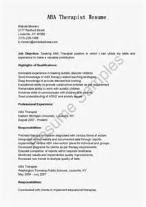 resume samples aba therapist resume sample
