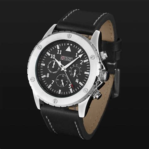 Jam Tangan Pria Swiss Army Time Leather Black White royale jam tangan analog pria mr099 100 black