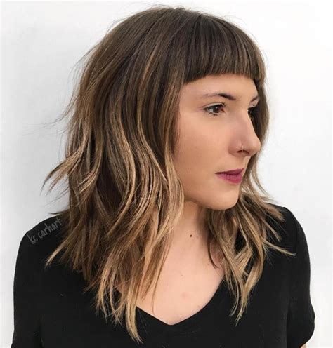 lob blunt bangs 20 modern ways to style a long bob with bangs blunt