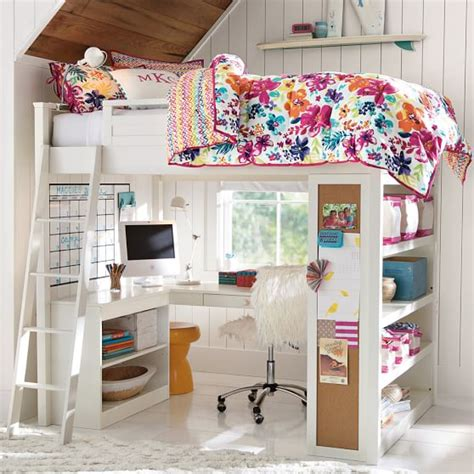 sleep and study loft bed rise and shine alarm clock pbteen