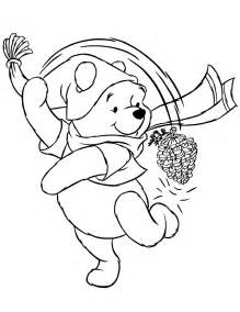 cute pooh bear winter coloring amp coloring pages
