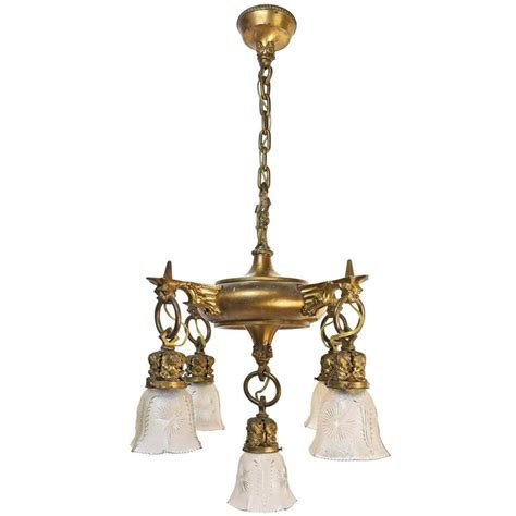 Cast Lighting Fixtures Cast Brass Early American Quetzalcoatl Light Fixture For Sale At 1stdibs