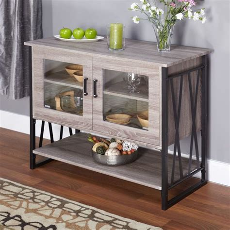 Grey Dining Room Cabinets Grey Reclaimed Finish Glass 2 Door Storage Chest Buffet
