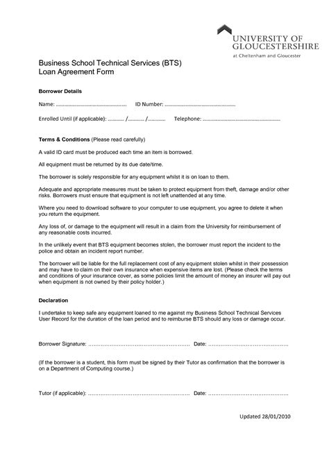 business loan agreement template free 11 best images of vehicle loan agreement sle