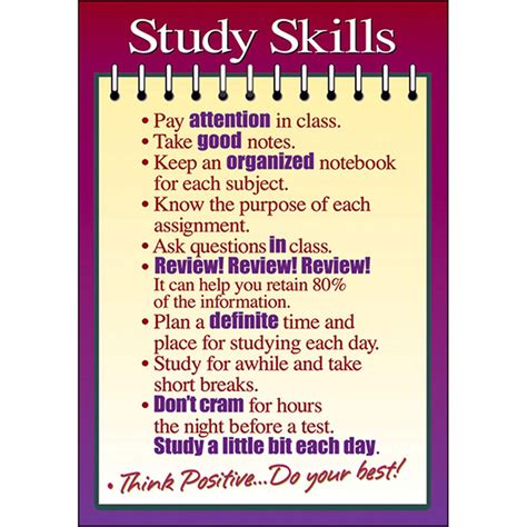 poster study skills 13 x 19 large t a63125 trend