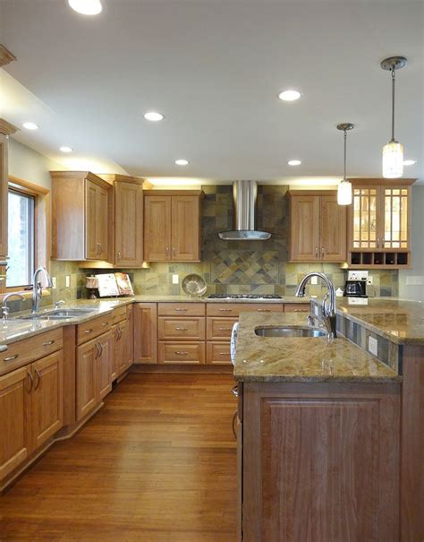 This Saline kitchen remodel features red birch cabinets