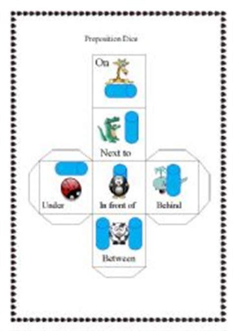 esl printable dice esl worksheets for beginners preposition dice