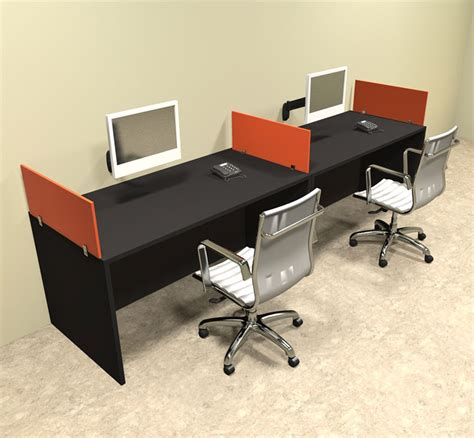 Two Person Office Desk Two Person Orange Divider Office Workstation Desk Set Ot Sul Spo4 Ebay