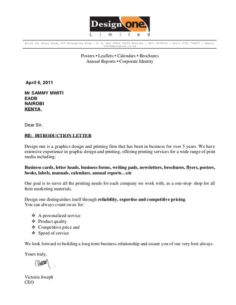 Letter Introducing Company Design One Intro Letter