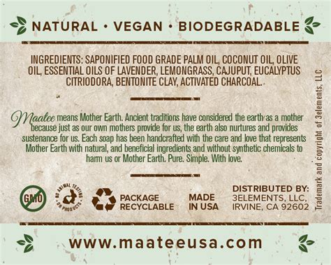 Handmade Soap Ingredients - cleanse maatee with earth