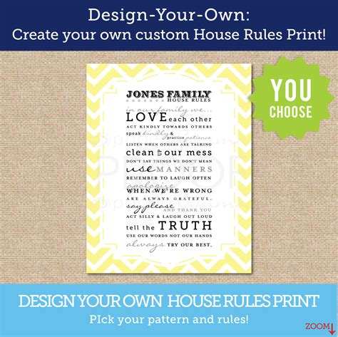 House Rules Design Your Home design your own house rules personalized art printcustomize